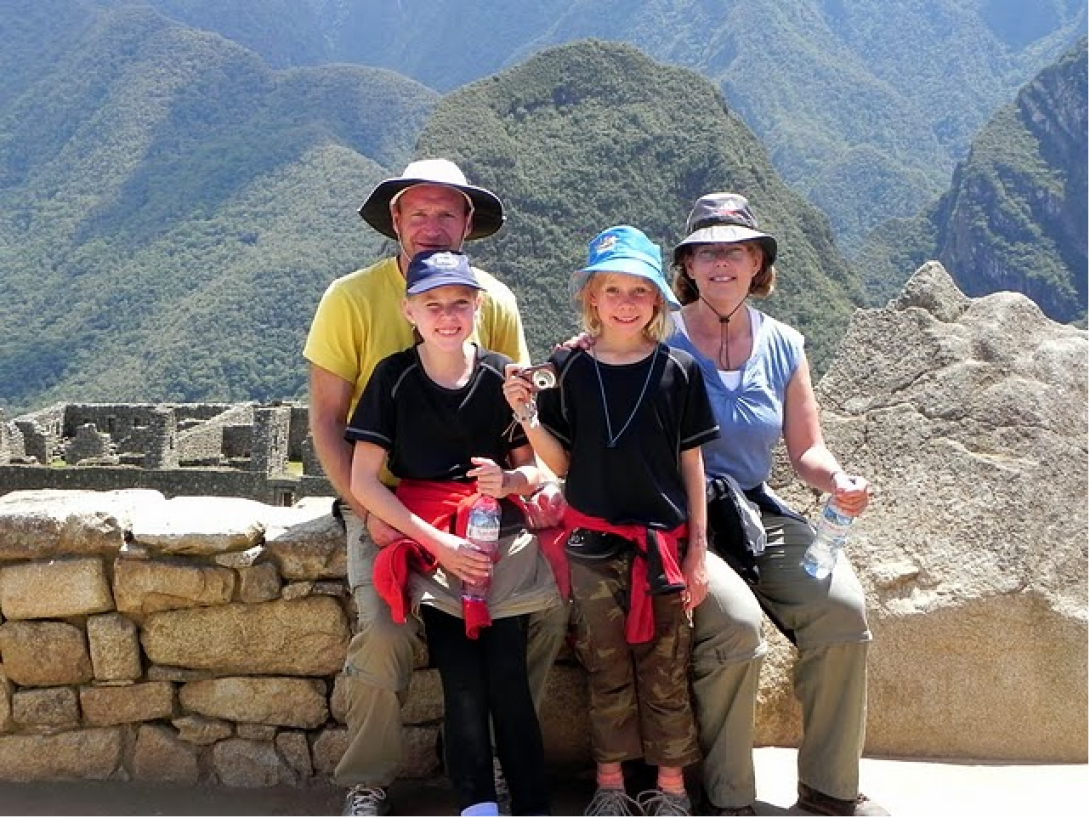 On a trip to Peru, a family learns Spanish together and explores the sites in their free time.